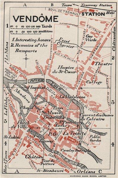 Associate Product VENDÔME VENDÔME. Vintage town city map plan. Loir-et-Cher 1926 old vintage