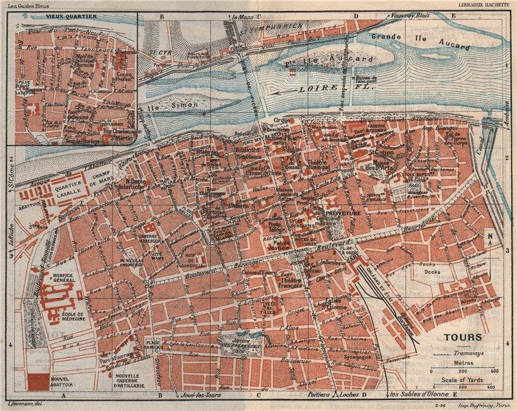 Associate Product TOURS. Vintage town city map plan. Indre-et-Loire. France 1926 old vintage