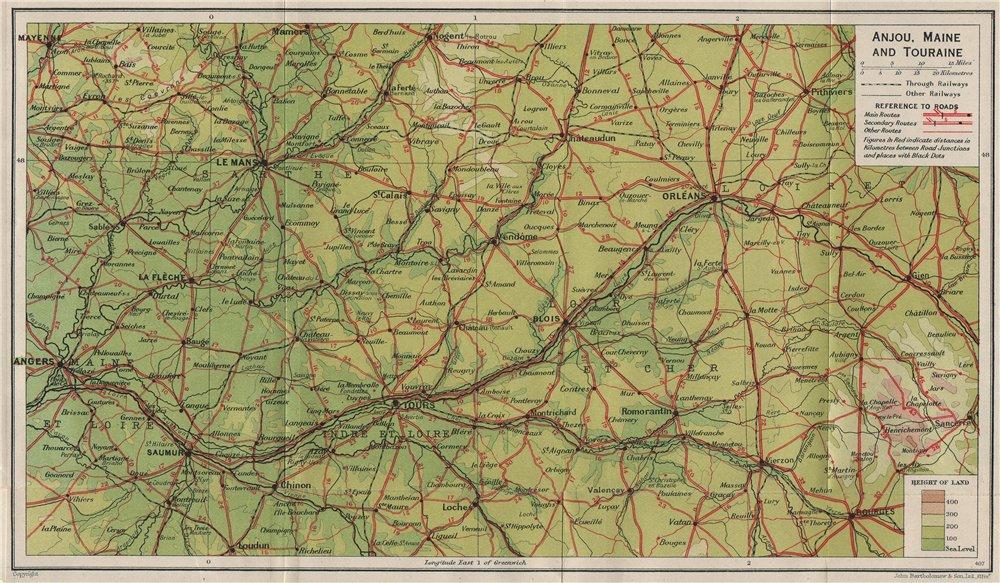 Associate Product LOIRE VALLEY. Val de Loire. Anjou Maine Touraine. Angers Tours Blois 1926 map