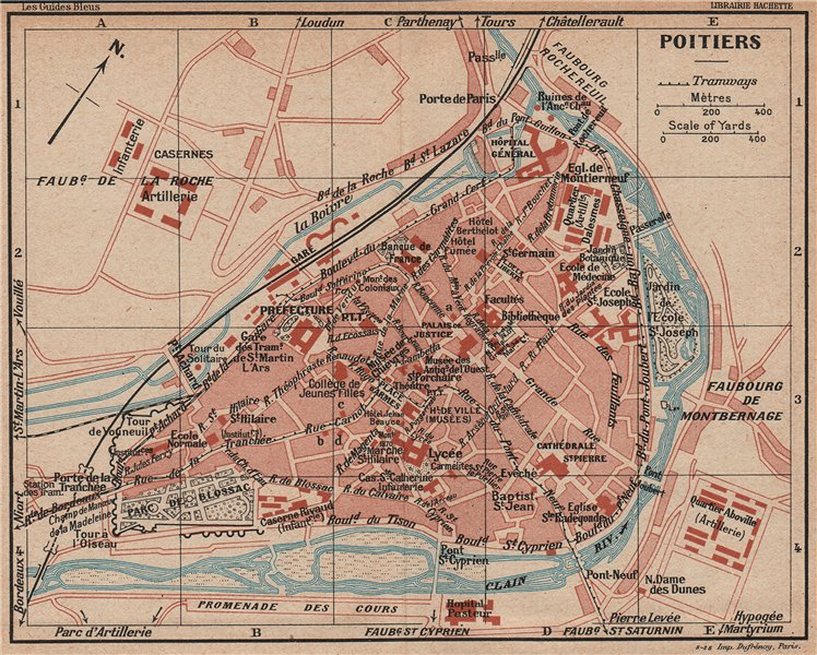 Associate Product POITIERS. Vintage town city map plan. Vienne 1926 old vintage chart