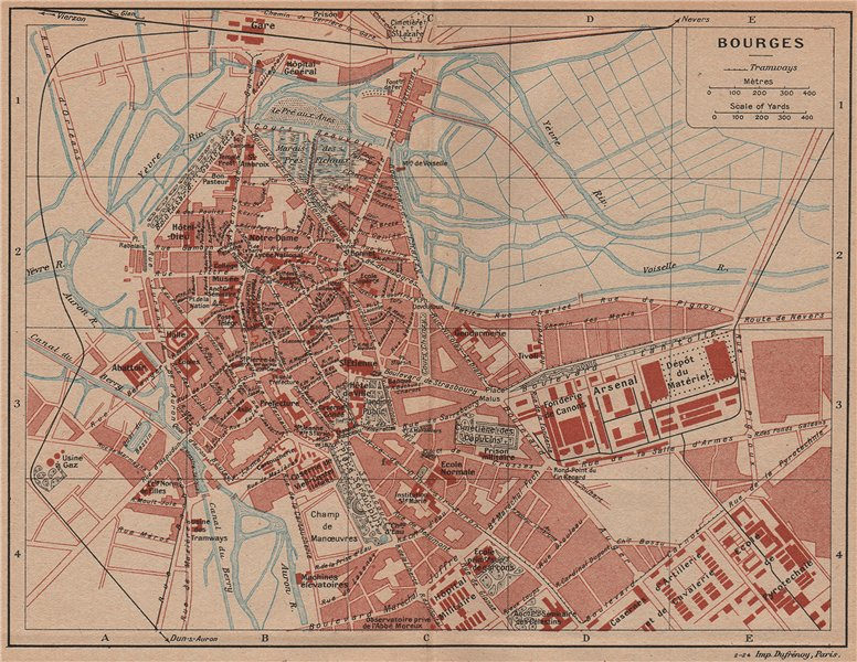 Associate Product BOURGES. Vintage town city map plan. Cher 1926 old vintage chart