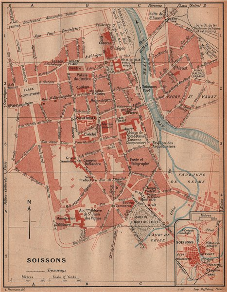 Associate Product SOISSONS. Vintage town city ville map plan carte. Aisne 1922 old vintage