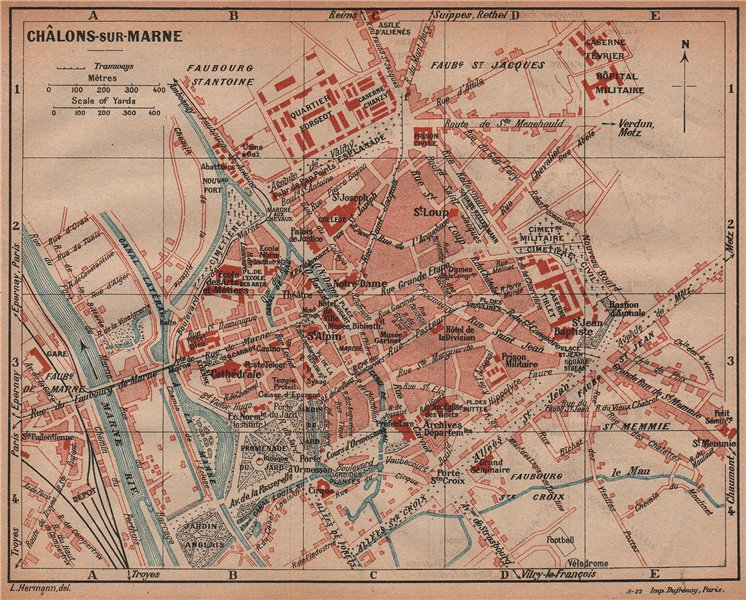 Associate Product CHÂLONS-SUR-MARNE. Vintage town city ville map plan carte. Chalons. France 1922