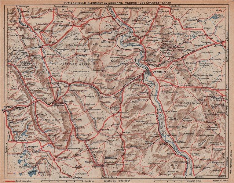 Associate Product VERDUN ENVIRONS.Cotes de Meuse.Foret Hesse/Argonne.Ste Ménehould Étain 1922 map