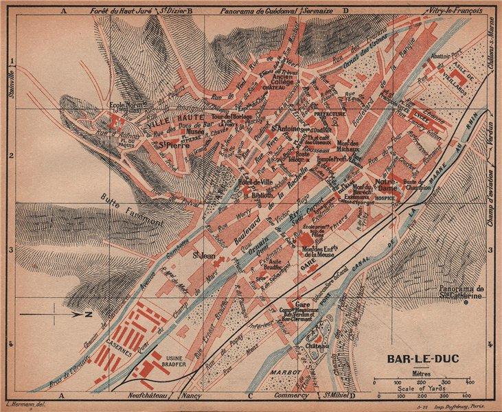 BAR-LE-DUC. Vintage town city ville map plan carte. Meuse 1922 old vintage