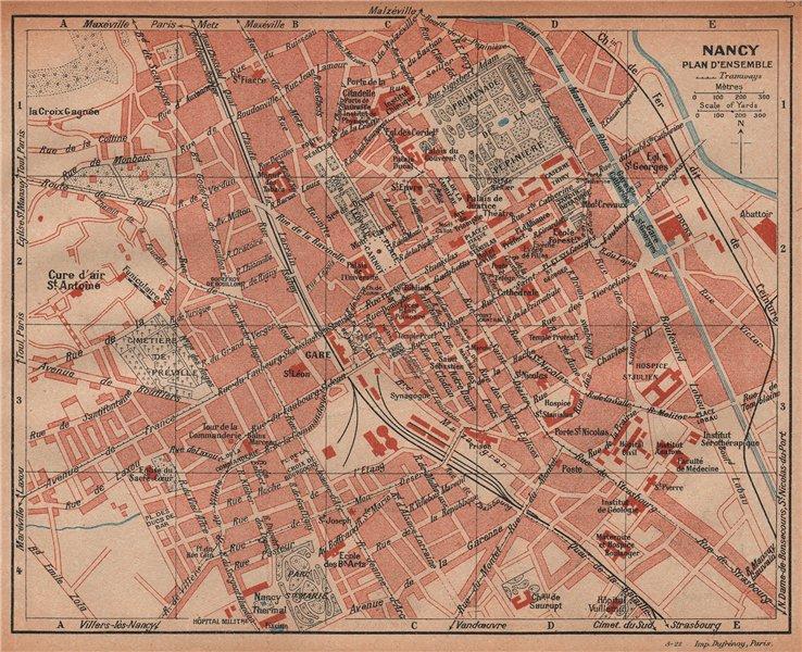Associate Product NANCY. Plan carte d'ensemble.Vintage town city ville map.Meurthe-et-Moselle 1922