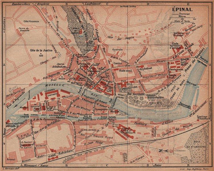 Associate Product ÉPINAL EPINAL. Vintage town city ville map plan carte. Vosges 1922 old