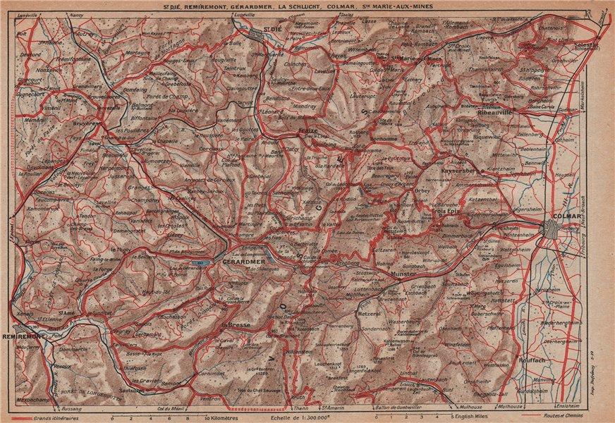VOSGES.St Dié Remiremont Gérardmer La Schlucht Colmar.Haut-Rhin.Alsace 1922 map