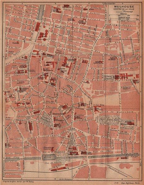 Associate Product MULHOUSE. Centre de la ville. Vintage town city map plan carte. Haut-Rhin 1922