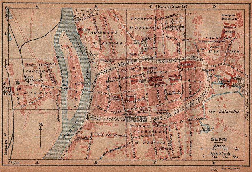 Associate Product SENS. Vintage town city ville map plan carte. Yonne 1922 old vintage chart