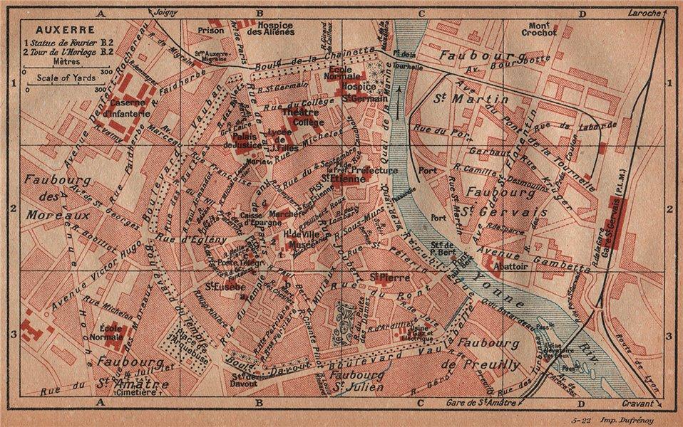 Associate Product AUXERRE. Vintage town city ville map plan carte. Yonne 1922 old vintage
