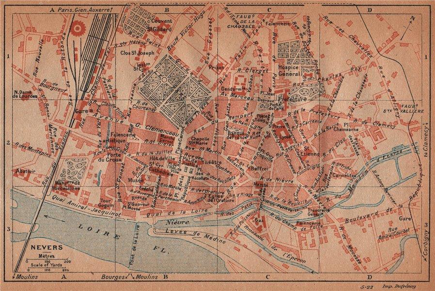 Associate Product NEVERS. Vintage town city ville map plan carte. Nièvre Nievre 1922 old