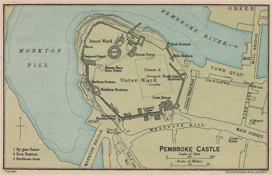 Associate Product PEMBROKE CASTLE. Vintage map plan. Wales 1922 old vintage chart