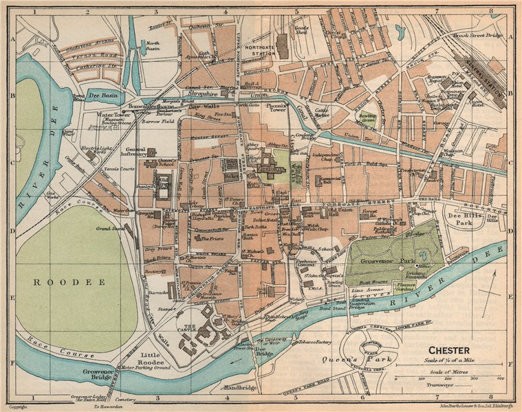 Associate Product CHESTER. Vintage town city map plan. Cheshire 1926 old vintage chart