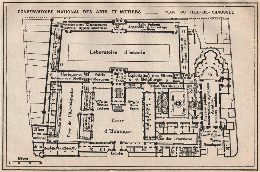 Associate Product CONSERVATOIRE NATIONAL DES ARTS ET MÉTIERS.Ground fl.Vintage plan.Paris 1922 map