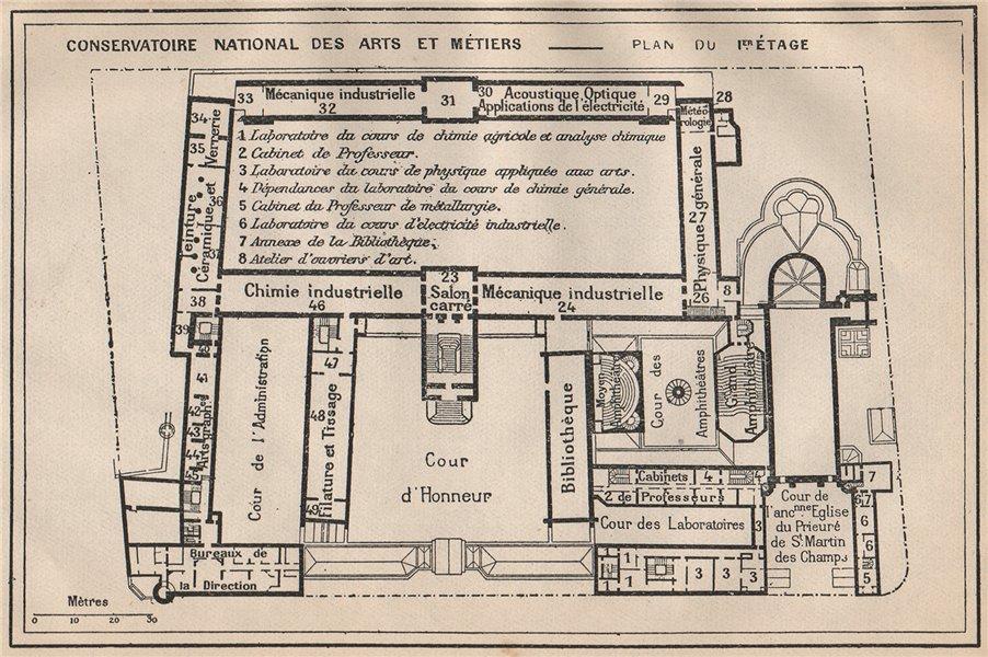 Associate Product CONSERVATOIRE NATIONAL DES ARTS ET MÉTIERS.1st floor.Vintage plan.Paris 1922 map