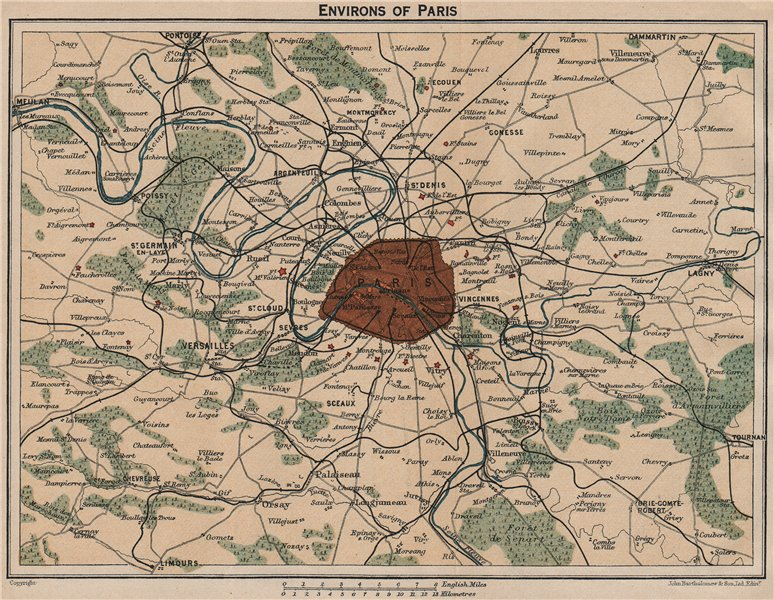 Associate Product PARIS ENVIRONS. Showing forts fortifications railways. Vintage map plan 1922