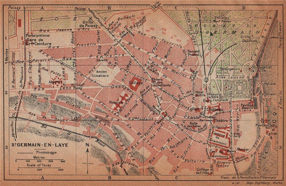 Associate Product ST. GERMAIN-EN-LAYE. Vintage town city map plan. Yvelines 1922 old vintage