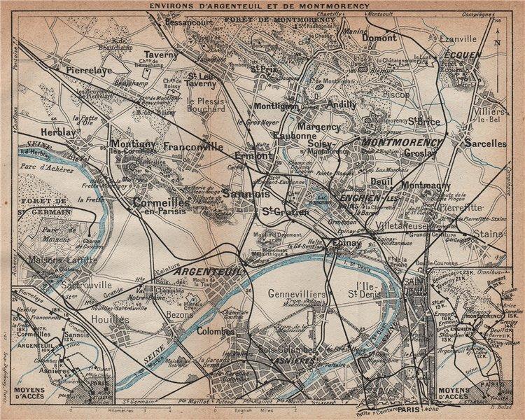 Associate Product ARGENTEUIL & MONTMORENCY. Asnières St Denis Cormeilles. Val-D'Oise 1922 map