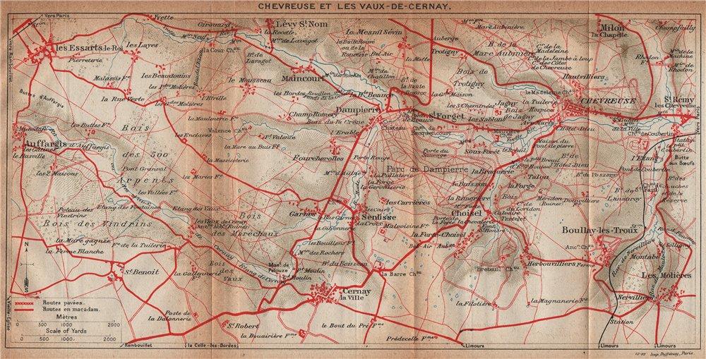 Associate Product CHEVREUSE & LES VAUX-DE-CERNAY. Auffargis Boullay-les-Troux. Yvelines 1922 map