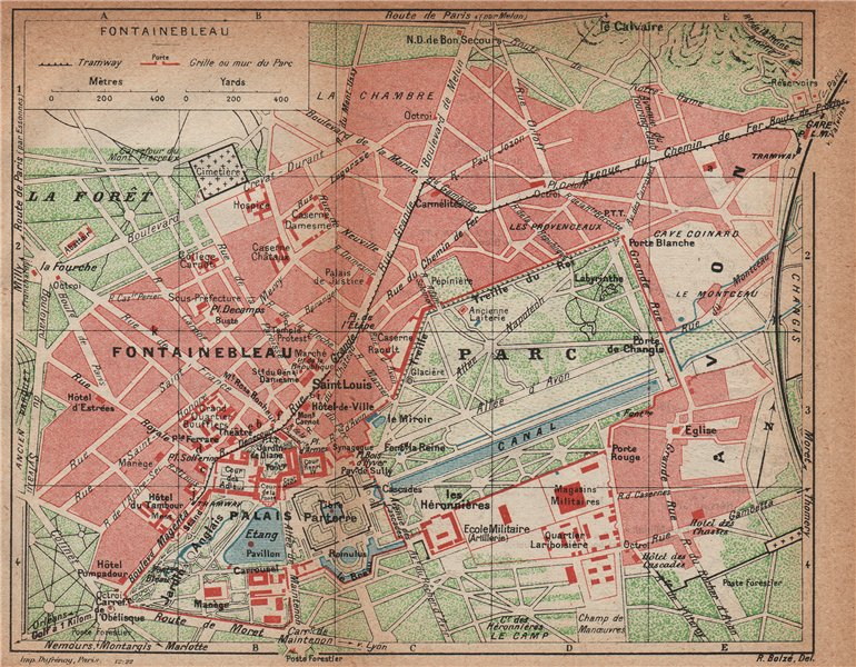 FONTAINEBLEAU. Vintage town city map plan. Palace Palais. Seine-et-Marne 1922