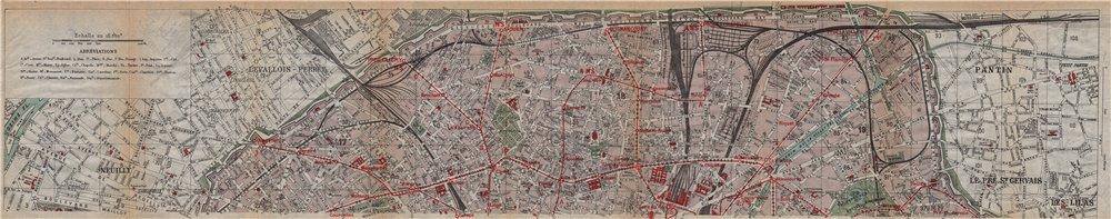 Associate Product PARIS NORTH 17E 18E 19E 9E 10E. Neuilly-Porte Brunet. Vintage map plan 1922
