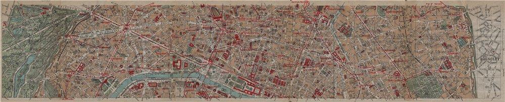 Associate Product PARIS CENTRE. 1-4e 8-11e 16e 20e. Porte de la Muette-Bagnolet. Vintage map 1922