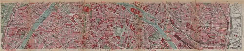 Associate Product PARIS CENTRE 15E 7E 6E 5E 4E 11E 12E. Porte de Passy-Vincennes 1922 old map