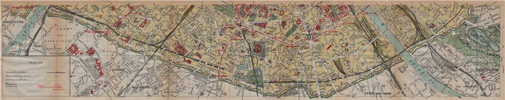 PARIS SOUTH 15E 14E 13E 12E. Porte de St Cloud-Picpus. Vintage map plan 1922