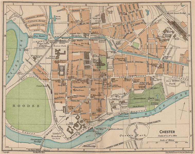 CHESTER. Vintage town city map plan. Cheshire 1936 old vintage chart