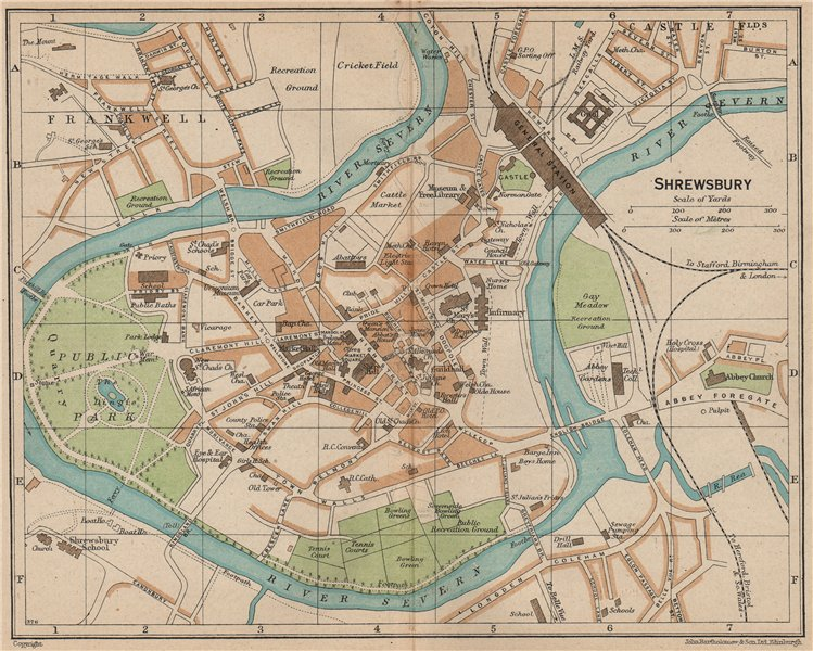 Details about SHREWSBURY. Vintage town city map plan. Shropshire 1936 old  vintage chart