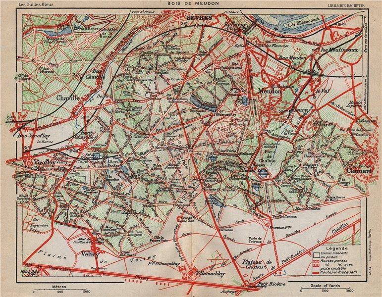 Associate Product BOIS DE MEUDON. Vintage map plan. Sèvres Chaville Vélizy Clamart. Yvelines 1927