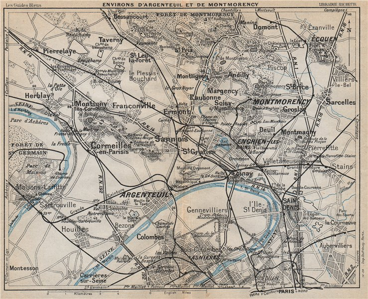 Associate Product ARGENTEUIL & MONTMORENCY. Asnières St Denis Cormeilles. Val-d'Oise 1927 map