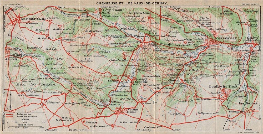 Associate Product CHEVREUSE & LES VAUX-DE-CERNAY. Auffargis Boullay-les-Troux. Yvelines 1927 map