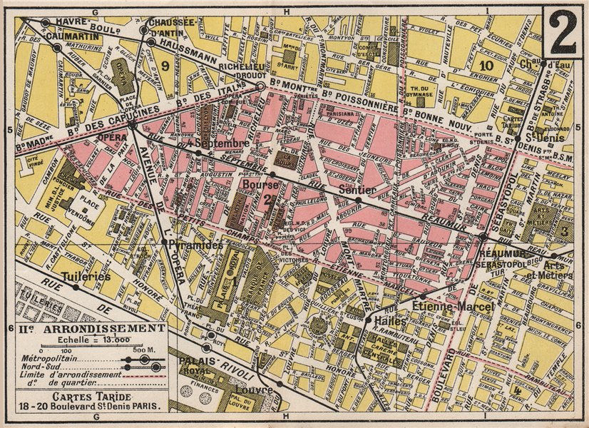 Associate Product PARIS. 2nd 2e IIe. Arrondissement. Bourse. TARIDE 1926 old vintage map chart
