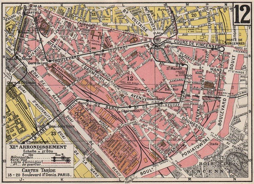 Associate Product PARIS. 12th 12e XIIe. Arrondissement. Reuilly. TARIDE 1926 old vintage map