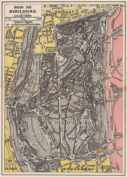 Associate Product BOIS DE BOULOGNE. Plan carte. Paris. TARIDE 1926 old vintage map chart