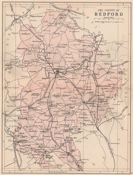 Associate Product BEDFORDSHIRE. Antique county map. Railways roads canals. PHILIP 1882 old