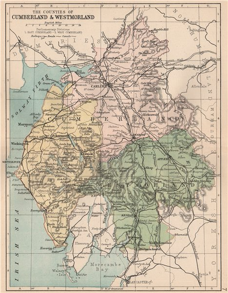 Associate Product CUMBERLAND & WESTMORELAND. County map. Railways Constituencies. PHILIP 1882