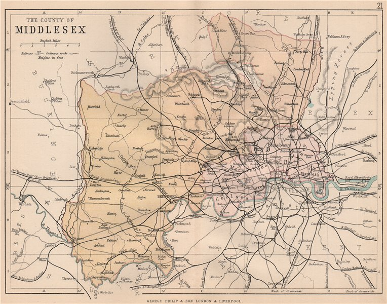 Associate Product MIDDLESEX. Antique county map. Railways roads. London. PHILIP 1882 old
