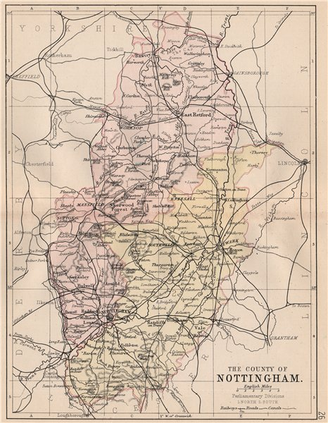 Associate Product NOTTINGHAMSHIRE. County map. Railways canals. Constituencies. PHILIP 1882