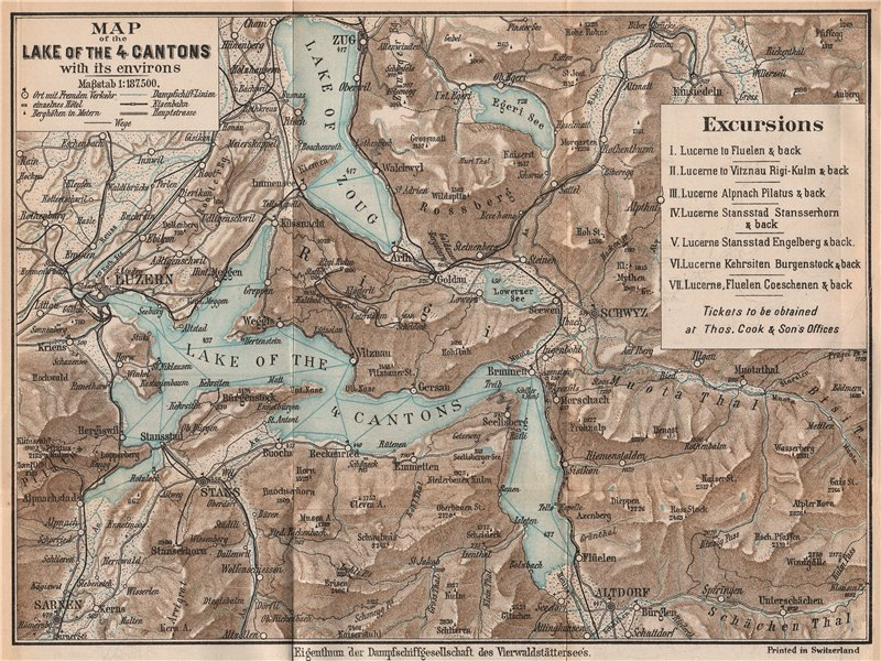 Associate Product SWITZERLAND. Lake of the 4 Cantons. Zoug. Lucerne. Luzern. THOMAS COOK 1900 map
