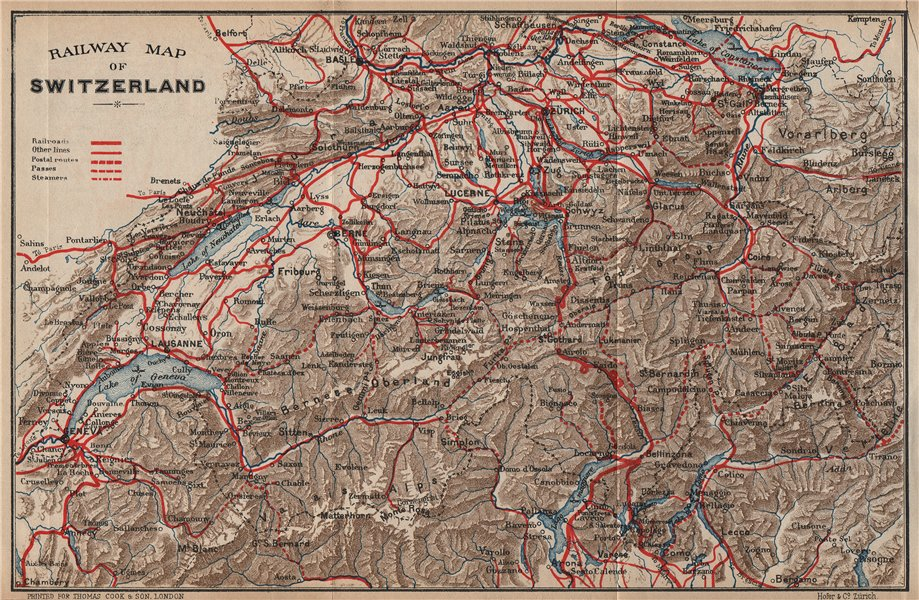 Associate Product SWITZERLAND. Railway map. Postal routes. Steamers. Passes. THOMAS COOK 1900