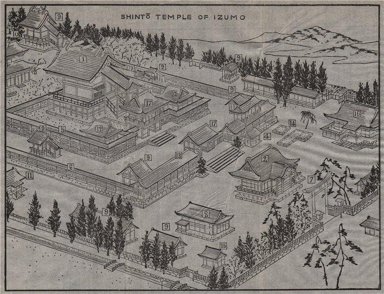 Associate Product IZUMO-TAISHA. Bird's eye view of the Shinto temple. Japan. MURRAY 1901 old map