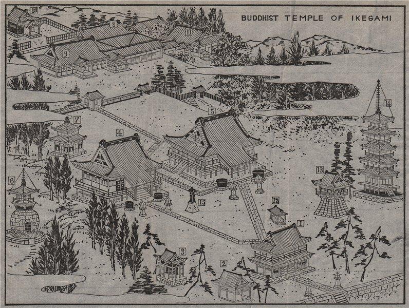 IKEGAMI HONMON-JI. Bird's eye view of the Buddhist temple. MURRAY 1901 old map