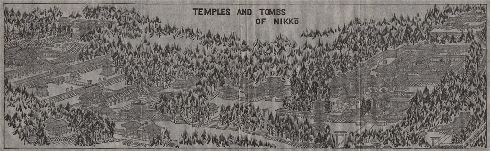Associate Product NIKKO. Bird's eye view of the Temples and Tombs of Nikkō. Japan.MURRAY 1901 map