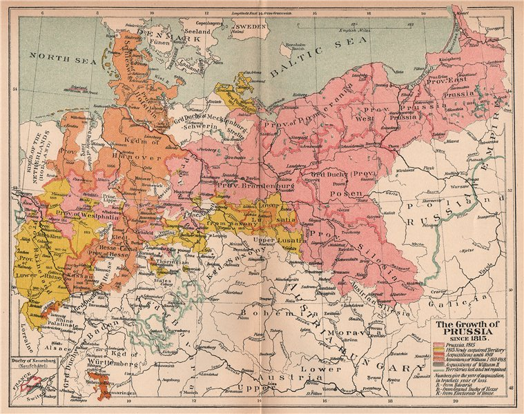 Associate Product GROWTH OF PRUSSIA FROM 1815. Acquisitions William I II. Losses 1910 old map