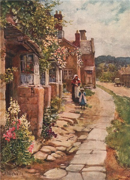 Associate Product BROADWAY, WORCESTERSHIRE. View of the village. Cotswolds. By GF Nicholls 1908