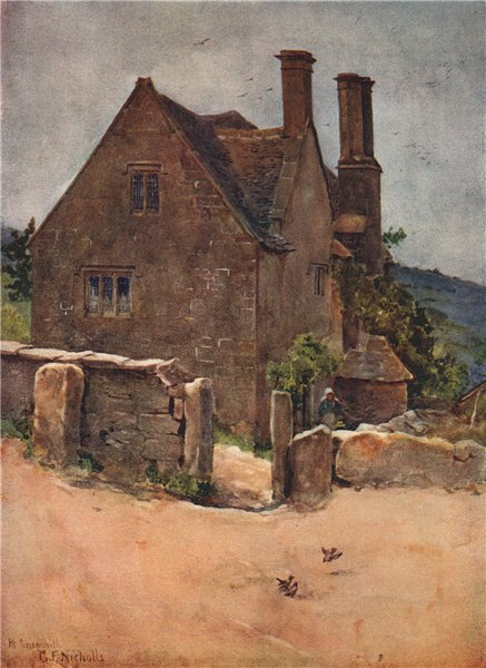 Associate Product SNOWSHILL. An old village house. Gloucestershire. Cotswolds. By GF Nicholls 1908