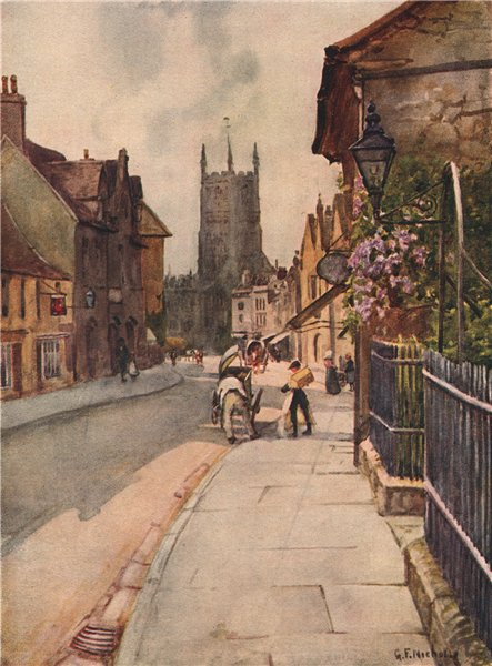Associate Product CIRENCESTER. Market place. Church. Cotswolds. Gloucestershire. GF Nicholls 1908
